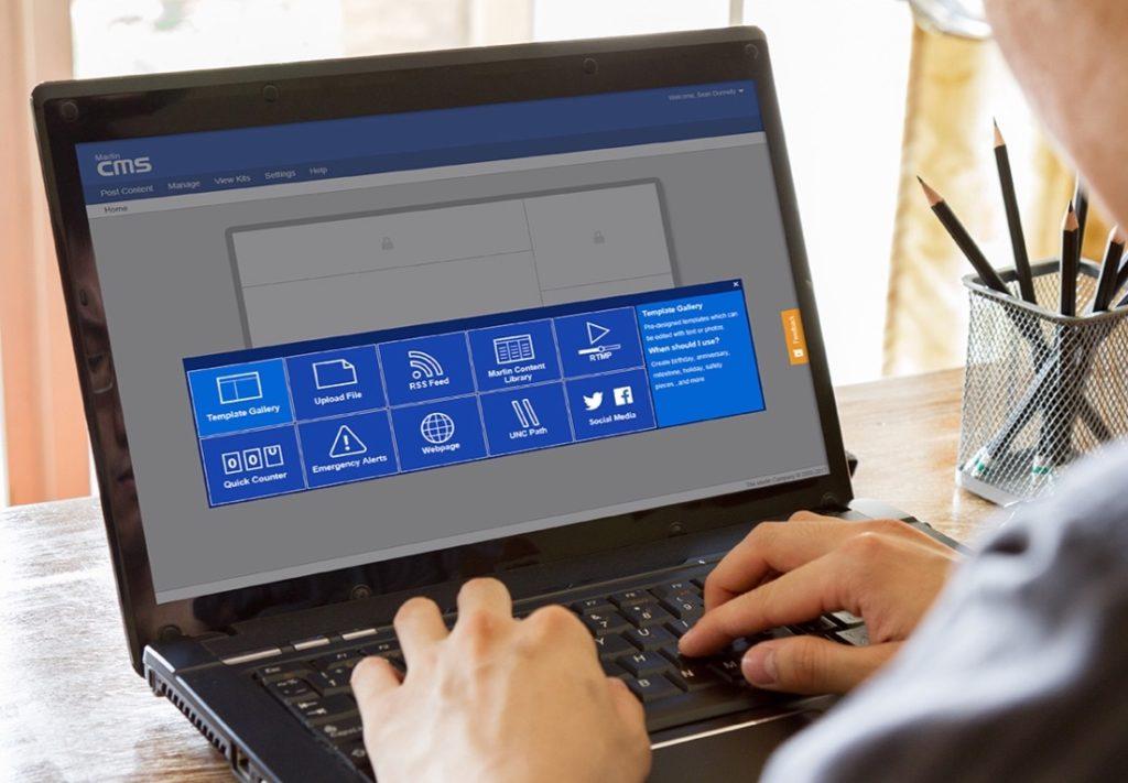 Signage CMS on Laptop